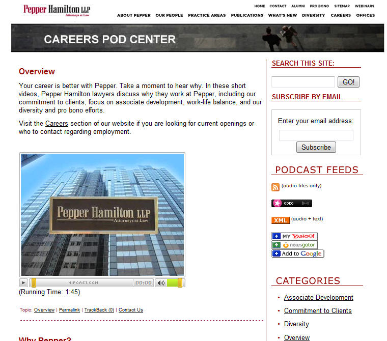 Pepper Hamilton law firm video center
